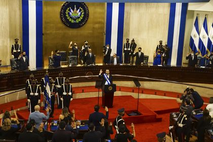 02 June 2021, El Salvador, San Salvador: Salvadoran President Nayib Bukele speaks to Congress during the anniversary of the end of his second year in the government. Photo: Camilo Freedman/ZUMA Wire/dpa 02/06/2021 ONLY FOR USE IN SPAIN