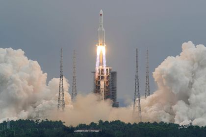 The Long March-5B Y2 rocket, carrying the core module of China's space station Tianhe, takes off from Wenchang Space Launch Center in Hainan province, China April 29, 2021.