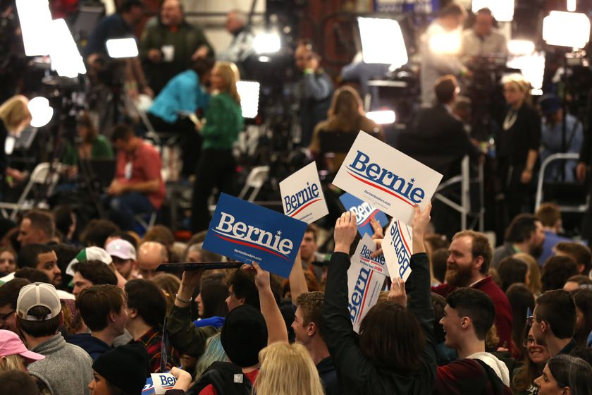 Supporters of U.S. Democratic presidential candidate Bernie Sanders at his Super Tuesday election night rally in Essex Junction