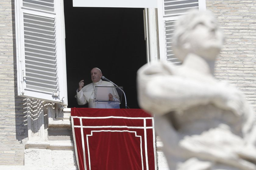Pope Francis delivers the Angelus noon prayer from his studio window overlooking St. Peter's Square, at the Vatican, Sunday, Sept. 6, 2020. (AP Photo/Gregorio Borgia)