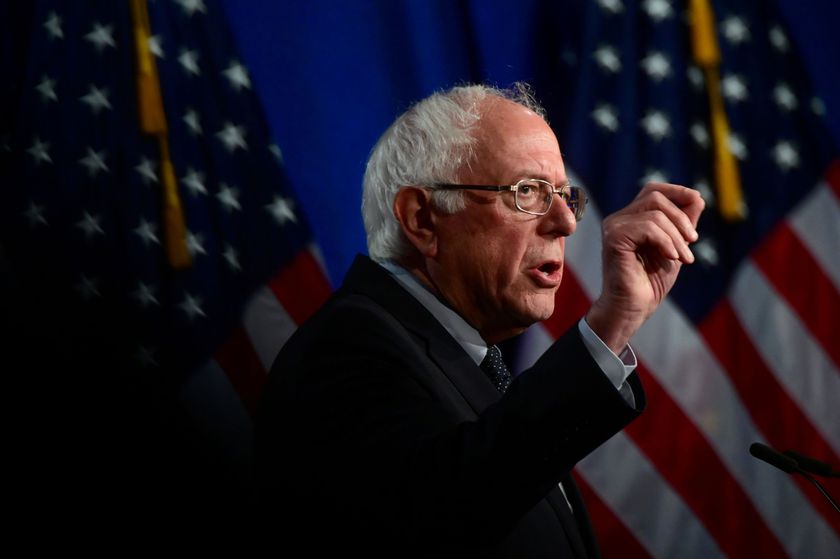 """FILE PHOTO: Sanders delivers a speech on """"Medicare for All"""" at George Washington University"""