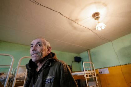 Boris Pundor, a prisoner of war from the Ukrainian armed forces, is seen inside a cell at a penitentiary colony in the rebel-controlled settlement of Makiivka outside Donetsk