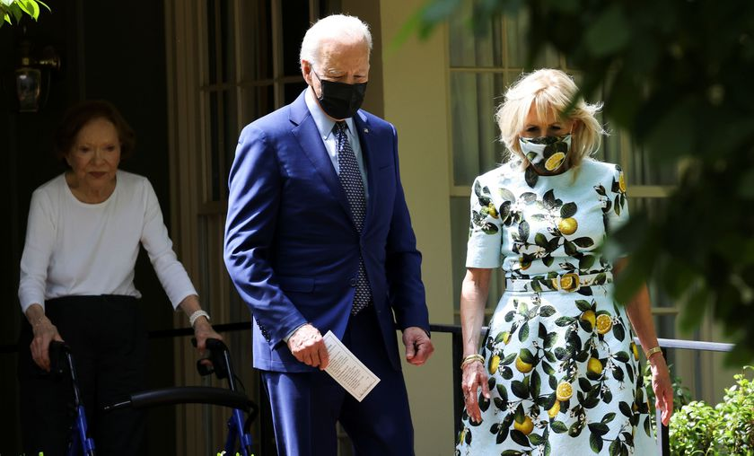 Former first lady and wife of Jimmy Carter.  Rosalynn fires President Biden and his wife Jill already wearing a mask