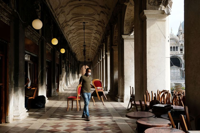 Gran Caffe Chioggia in St Mark Square prepares for its reopening as Italy eases some of the lockdown measures put in place during the coronavirus disease (COVID-19) outbreak in Venice