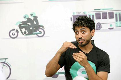 FILE PHOTO: Fahim Saleh, Co-founder/CEO of Gokada explains his company's operation during an interview with Reuters in Lagos