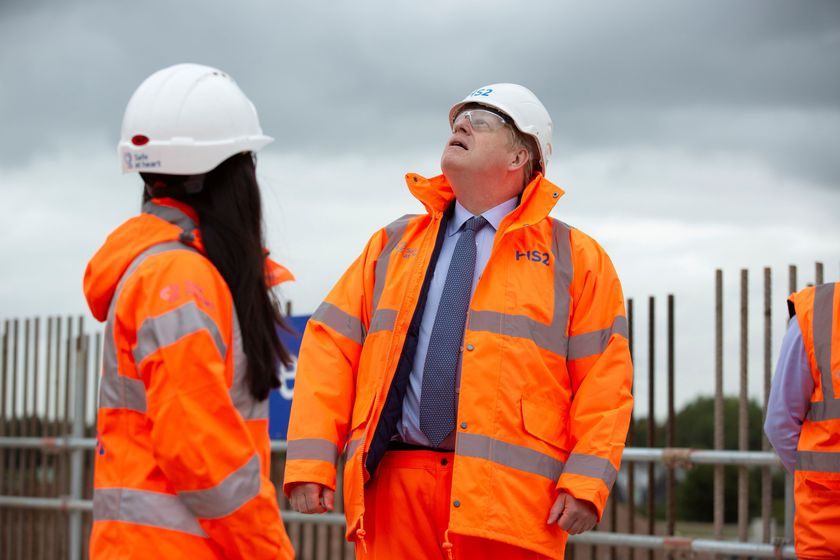 Britain's Prime Minister Boris Johnson visits the HS2 Solihull Interchange building site in the West Midlands