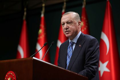 Turkish President Tayyip Erdogan gives a statement after a cabinet meeting in Ankara, Turkey, May 17, 2021. Murat Cetinmuhurdar/PPO/Handout via REUTERS THIS IMAGE HAS BEEN SUPPLIED BY A THIRD PARTY. NO RESALES. NO ARCHIVES