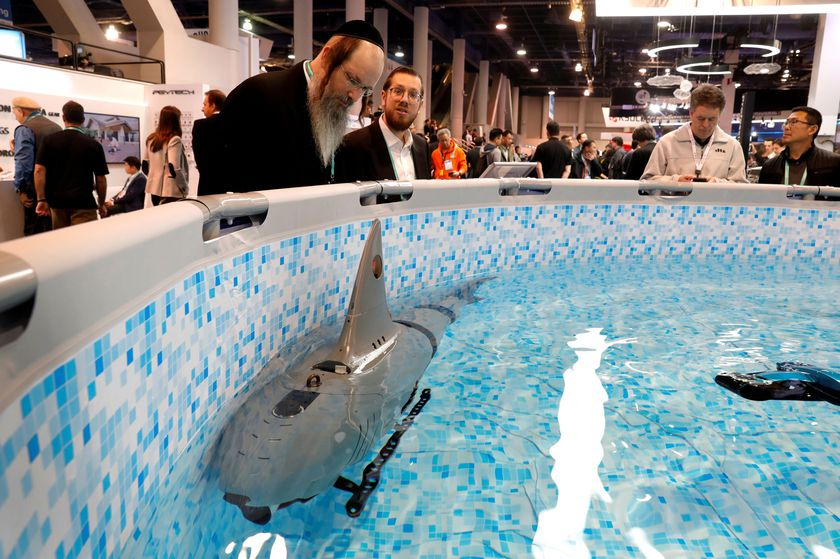 RoboSea's Robo-Shark, a multi-joint bionic robot fish for underwater exploration, is displayed during the 2020 CES in Las Vegas