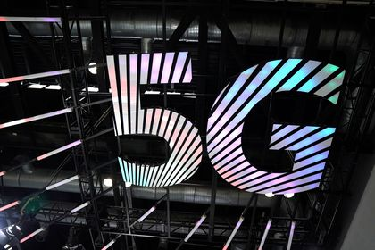 Sign of 5G is seen at the 2020 China International Fair for Trade in Services (CIFTIS) in Beijing