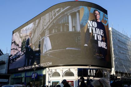"A film trailer for the 25th instalment in the James Bond series entitled ""No Time to Die"" is displayed at Piccadilly Circus in London."