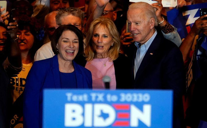 FILE PHOTO: Former Democratic 2020 U.S. presidential candidate Klobuchar endorses former U.S. Vice President Biden's campaign for U.S. president during a campaign event in Dallas,