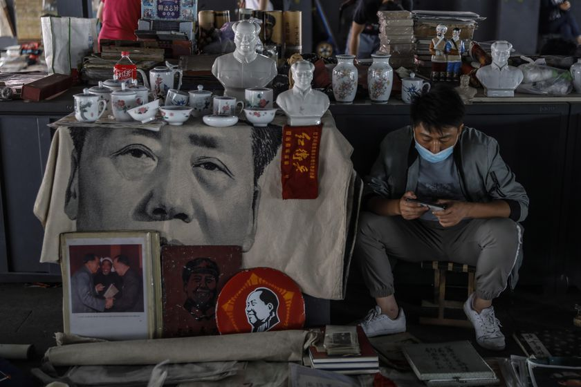 Former Chinese leader Mao Zedong's portraits at Panjiayuan Antique market