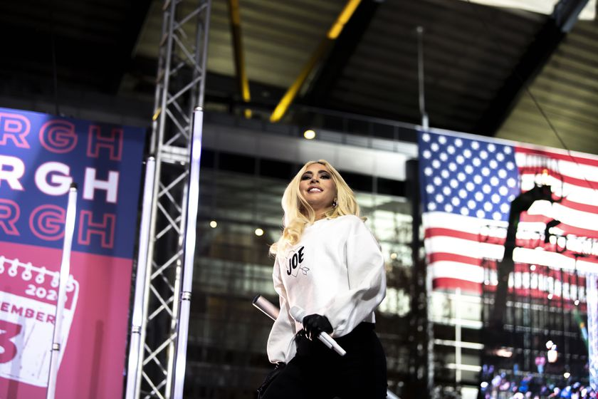 Lady Gaga takes the stage to perform during a drive-in campaign event for Democratic presidential candidate and former Vice President Joe Biden in the parking lot outside of Heinz Field on Pittsburgh's North Shore, Monday, Nov. 2, 2020. (Alexandra Wimley/Pittsburgh Post-Gazette via AP)