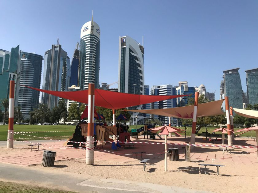 FILE PHOTO: General view of a empty kids playground, following the outbreak of coronavirus disease (COVID-19), in Doha