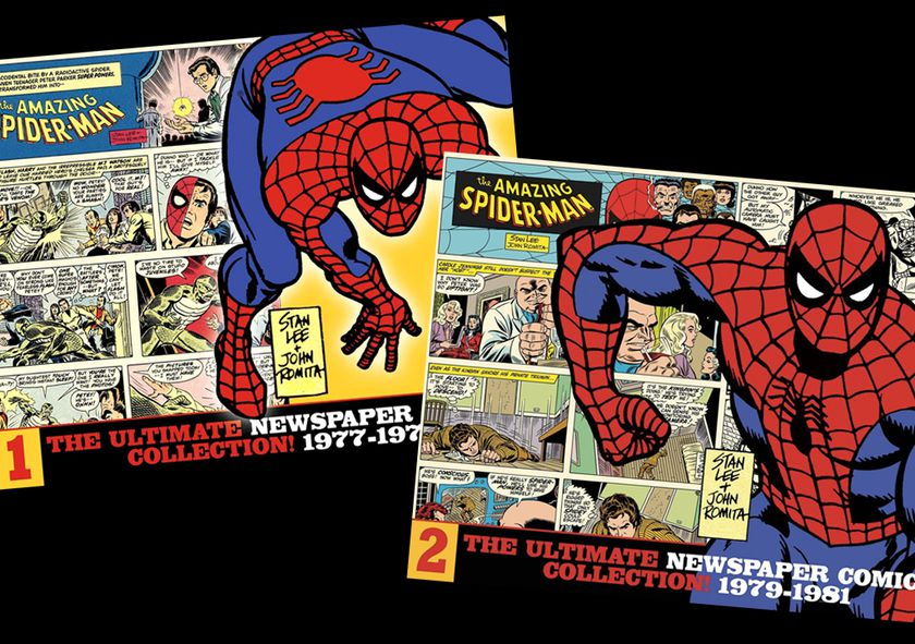 "Portada de los primeros tomos de ""The Amazing Spider-Man: The Ultimate Newspaper Comics Collection"""