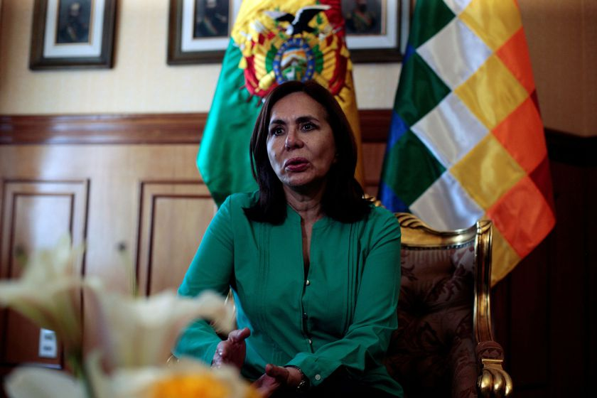 FILE PHOTO: Bolivia's Foreign Minister Karen Longaric speaks during a Reuters interview in La Paz