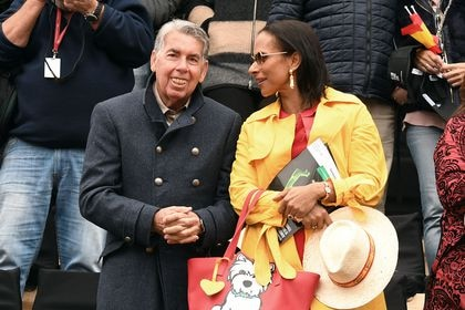 Former player tennis Manolo Santana and  Claudia Rodriguez during Davis Cup in Marbella.