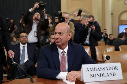 U.S. Ambassador to EU Sondland attends a House Intelligence Committee hearing on Trump impeachment inquiry in Washington