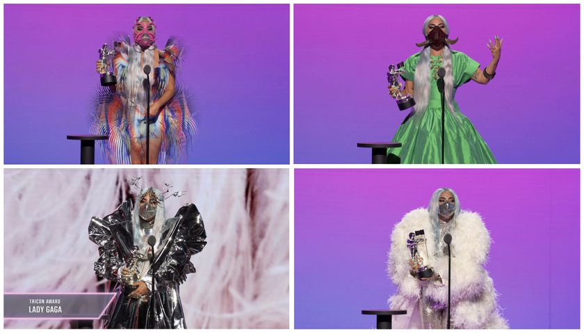 Combination picture of Lady Gaga accepting awards during the 2020 MTV VMAs