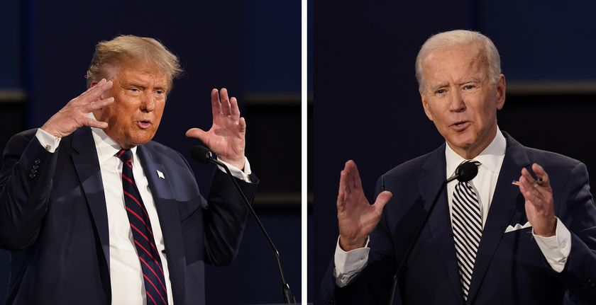 Donald Trump y Joe Biden, durante el debate