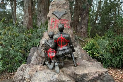 Miguel De Cervantes memorial is vandalised with red spray paint, in San Francisco, California