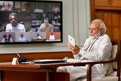 Indian Prime Minister Narendra Modi holds an All Party meeting in New Delhi