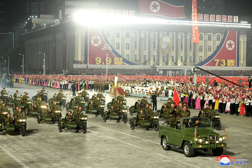 Pyongyang (Korea, Democratic People''s Republic Of), 09/09/2021.- A photo released by the official North Korean Central News Agency (KCNA) shows a moment from the military parade at Kim Il-sung Square in Pyongyang, North Korea, early 09 September 2021. The late-night parade was held to celebrate the 73rd founding anniversary of the Democratic People's Republic of Korea. (Corea del Norte) EFE/EPA/KCNA EDITORIAL USE ONLY EDITORIAL USE ONLY