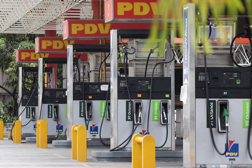 Closed gas pumps stand at a gas station in Caracas, Venezuela, Tuesday, Sept 8, 2020. Gasoline shortages have returned to Venezuela, sparking mile-long lines in the capital as international concerns mounted that Iran yet again may be trying to come to the South American nation's rescue. (AP Photo/Ariana Cubillos)