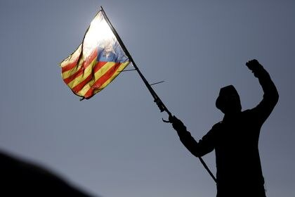 Members of Catalan protest group Democratic Tsunami block AP-7 highway on the French side of the Spanish-French border