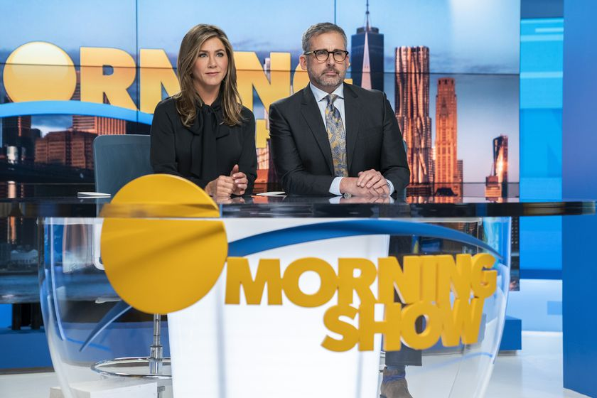 """This image released by Apple TV Plus shows Jennifer Aniston, left, and Steve Carell in a scene from """"The Morning Show."""" The program is nominated for a Golden Globe for best television drama series. (Hilary B. Gayle/Apple TV Plus via AP)"""