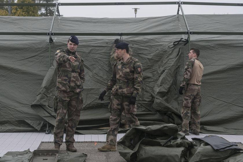 French soldiers set up a military field hospital at the Emile Muller Hospital in Mulhouse