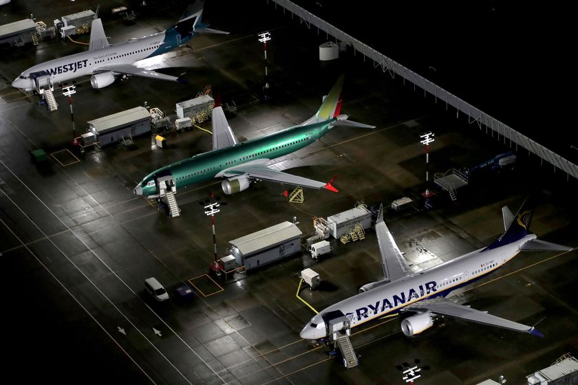FILE PHOTO: Aerial photos of parked Boeing 737 Max aircraft in Seattle