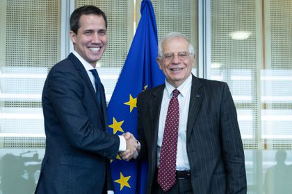 Venezuelan opposition leader Juan Guaido meets with the European Union's High Representative for foreign policy Josep Borrell in Brussels