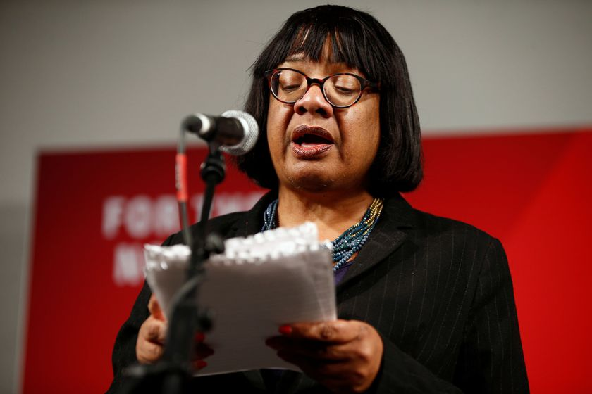 Britain's Shadow Home Secretary Diane Abbott speaks during a final general election campaign event in London
