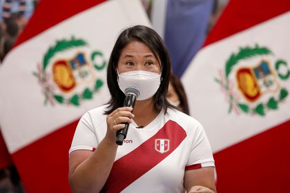 Peru's presidential right-wing candidate Keiko Fujimori, who will face opponent socialist candidate Pedro Castillo in a run-off vote on June 6, addresses the media, in Lima, Peru May 8, 2021. REUTERS/Angela Ponce