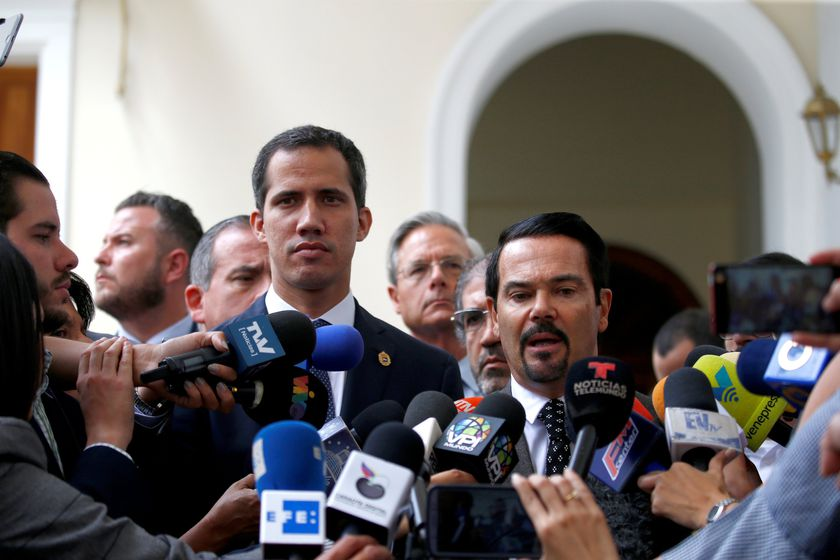 FILE PHOTO: French ambassador to Venezuela Romain Nadal delivers a news conference next to Venezuelan opposition leader Juan Guaido and accredited diplomatic representatives of the European Union in Caracas