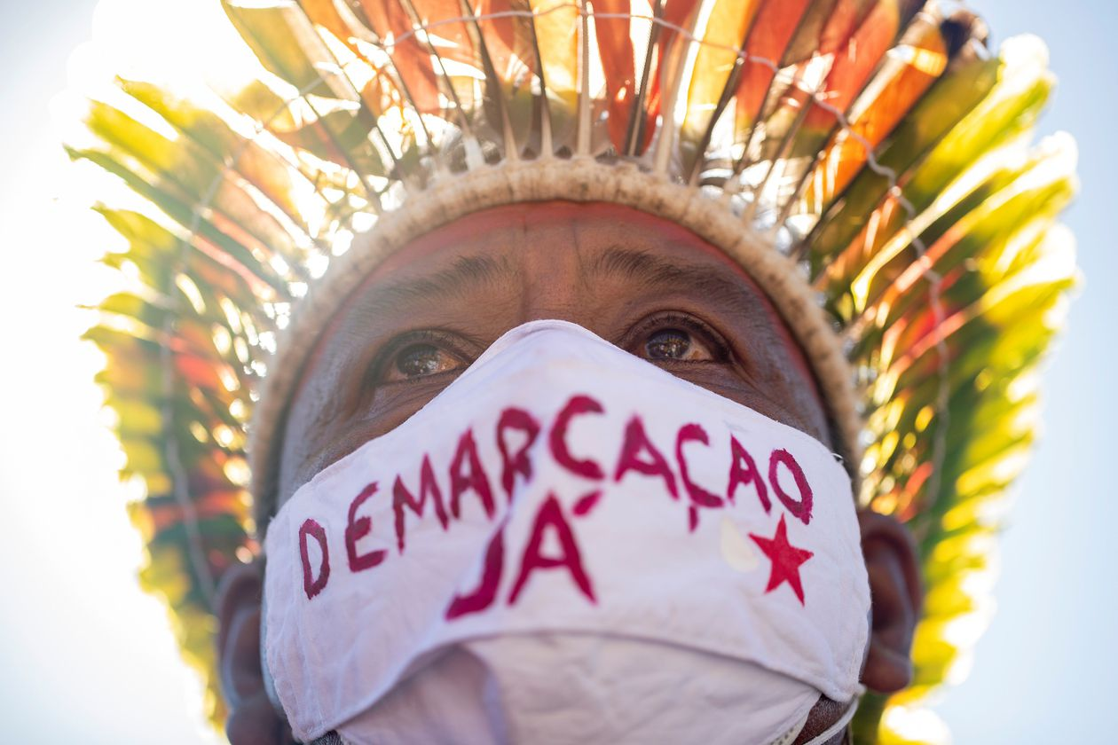 Indigenous people protest in Brazil against land law
