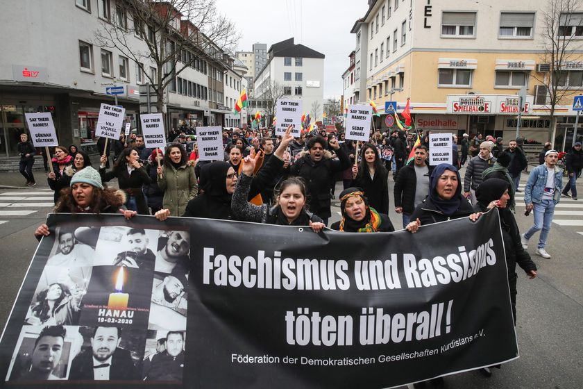 Protest against the racist terror attack in Hanau