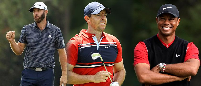 Dustin Johnson, Rory McIlroy y Tiger Woods