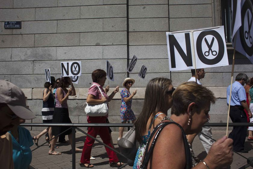 Civil servants take part in a protest against government austerity measures in Madrid.
