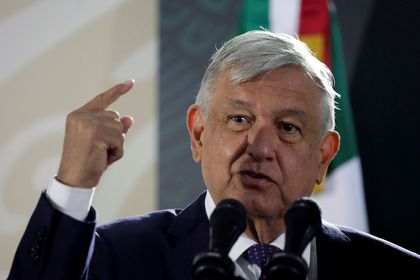 FILE PHOTO: Mexico's President Andres Manuel Lopez Obrador speaks during a news conference in Ciudad Juarez
