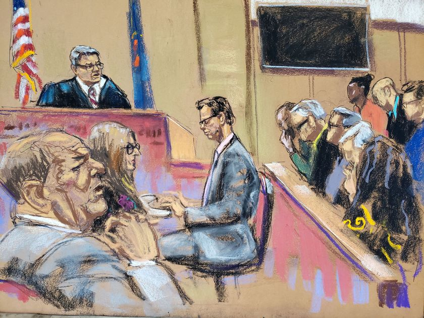 Film producer Harvey Weinstein sits with his attorney Donna Rotunno as Judge James Burke instructs the jury on charges as they begin deliberations in New York