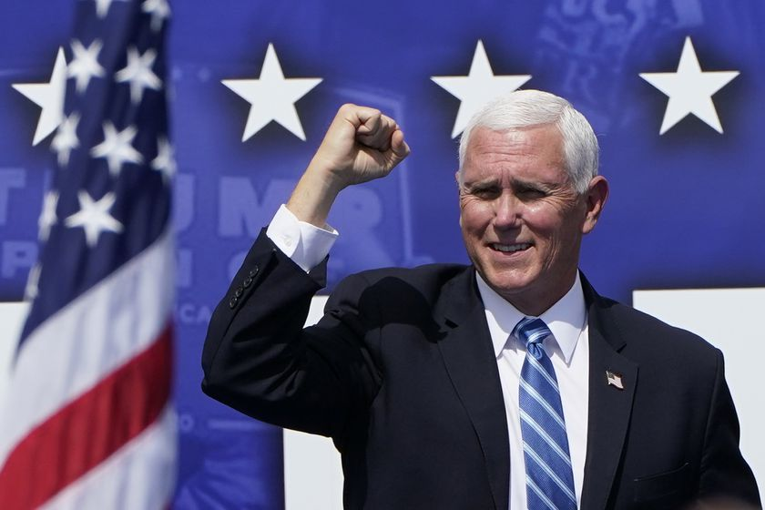 Vice President Mike Pence speaks at a campaign rally at the Cuban Memorial Monument, Thursday, Oct. 15, 2020, in Miami. (AP Photo/Lynne Sladky)