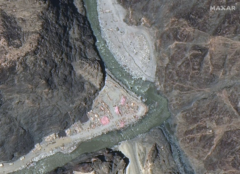 Maxar WorldView-3 satellite image shows close up view of the Line of Actual Control (LAC) border and patrol point 14 in the eastern Ladakh sector of Galwan Valley